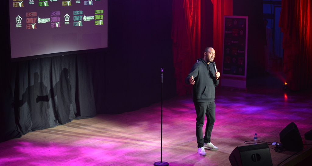 Dane Baptiste at the 2017 Leicester Comedy Festival.