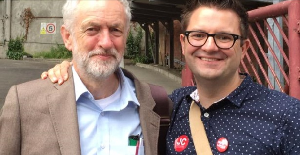 Jeremy Corbyn with Newcastle councillor David Stockdale